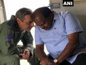 Karnataka floods: Kumaraswamy conducts aerial survey of landslides, flood-affected areas in Kodagu