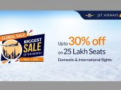Jet Airways offers 30 per cent discount on 25 lakh seats