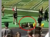 Football mascot shoots self in the wrong place, watch!
