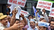 AAP supporters protest outside residence of Manoj Tiwari