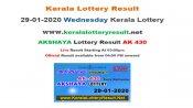 Kerala Lottery Akshaya AK-430 today lottery result LIVE, now