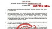 Press note on COVID-19 declaring restricted movement in India is fake
