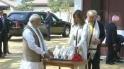 All in 15 min, Trump tours Sabarmati Ashram, spins Bapu's Charkha, gifted 'Three Wise Monkeys'