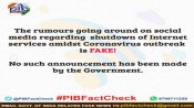 Fake: Government has not order shut down of internet in India