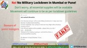 Fake: No military lockdown of Mumbai, Pune announced
