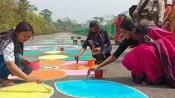 To create awareness among voters, 8-km long 'rangoli' created in Assam