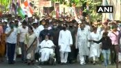 Days after 'leg injury', Mamata participates in TMC's march on wheelchair