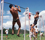 Mongolian athletes work out at a training camp