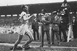 1920 Oly: Paavo Nurmi the Finnish distance runner at finish line of 10000m. Nurmi claimed three gold and a silver in long distance events at Antwerp Games.