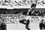 1968: The lanky US long jumper Bob Beamon takes a huge leap en route to his record-breaking feat at Mexico. Bob recorded a jump of 8.90 still an Oly record.