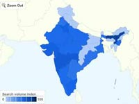 indian map showed by Google Insights for Search