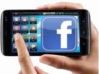 Mobile with facebook logo