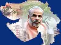 Narendra Modi and Gujarat map