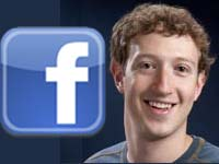 Facebook logo with CEO ZuckerBerg