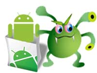 Google Android logo with virus symbol