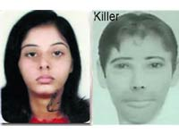 Radhika Tanwar with police sketch of suspected killer