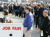 US job fair, people waiting