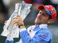 Novak Djokovic with the Indian Wells Trophy, Image: Getty
