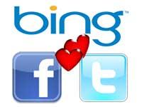 Bing, Facbook and Twitter logos