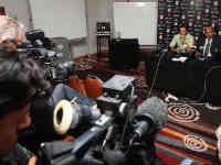 Pakistan cricket team captain and manager addressing media