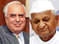 Anna Hazare and Kapil Sibal