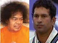 Sathya Sai Baba and Sachin Tendulkar