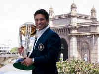 Sachin Tendulkar holding World Cup