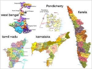 WB, TN, Kerala, Assam, Puducherry map