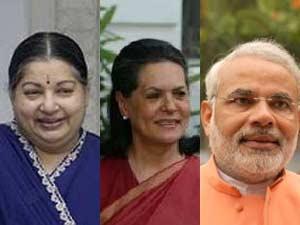 Jayalalithaa, Sonia Gandhi and Narendra Modi