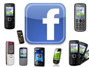 Facebook logo with mobiles