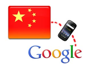 Google logo on China flag