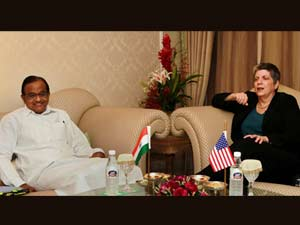 Home Minister P Chidambaram with US Secretary of Homeland security Janet Napolitano during homeland security dialogue between India and US