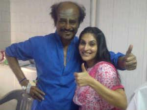 Rajinikanth with daughter