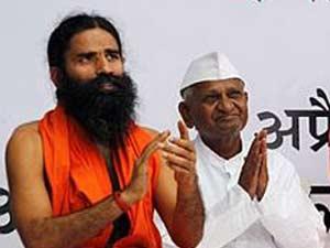 Yoga guru Baba Ramdev along with social activist Anna Hazare