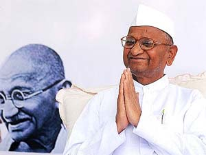 Social activist Anna Hazare sit in for a day long hunger strike at Rajghat to protest against the mid-night crackdown on Baba Ramdev