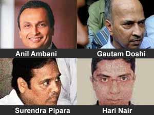 Anil Ambani with three 2G accused
