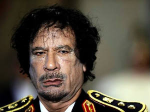 Libyan embattled President Muammar Gaddafi