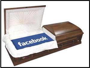 Facebook logo in coffin