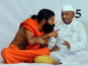 Baba Ramdev with Anna Hazare