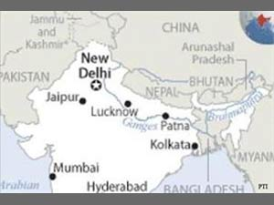 India map without JK and Arunachal