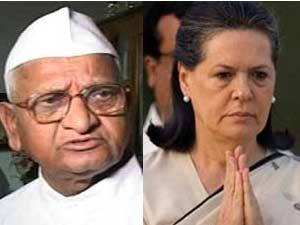 Anna Hazare and Sonia Gandhi
