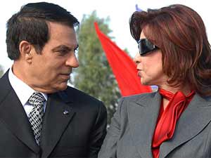 Deposed Tunisian President with wife