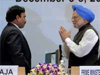 Prime Minister Manmohan Singh and former Telecom Minister A Raja