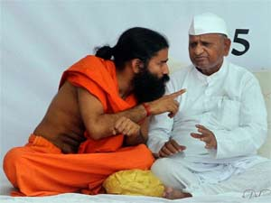 Baba Ramdev, Anna Hazare