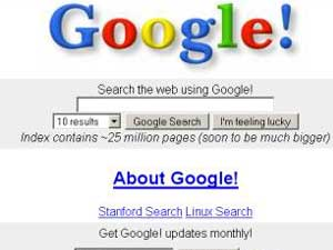 Old Google search engine page