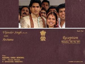 Vijender Singh with wife and his marriage card