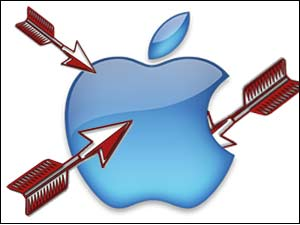Apple logo with arrows