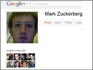 Mark Zuckerberg Google Plus Screenshot