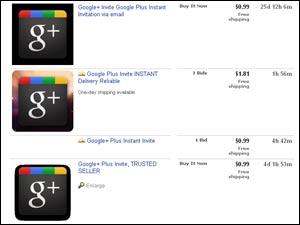 Google Plus Invite in eBay