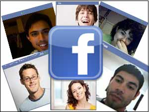 Facebook logo with video chat screen shots